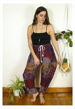 Fairtrade Red Peacock Hippie Harems Trousers
