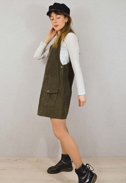 Vintage 90s Corduroy Pinafore Dress Olive Green