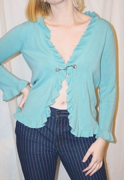 Vintage deep-cut blue sweater with metal hardware