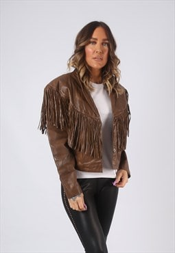 Leather Tassel Fringe Jacket Short Vintage UK 12 (CW2C)