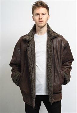 Vintage Leather Aviator Fleece Jacket