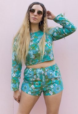 70's Print Blue Floral Tie Back Crop Top