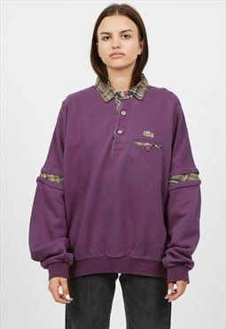 Vintage Purple LACOSTE Polo Neck Pullover Sweatshirt