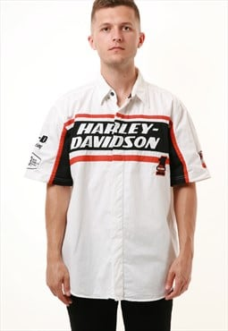 90s Vintage HARLEY-DAVIDSON Racing Cotton Shirt 15683