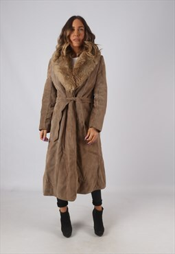 Suede Faux Sheepskin Coat Faux Fur Long Mid UK 12 (KDP)