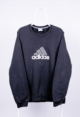 Vintage Adidas Sweatshirt Spell Out Embroidered Black Large