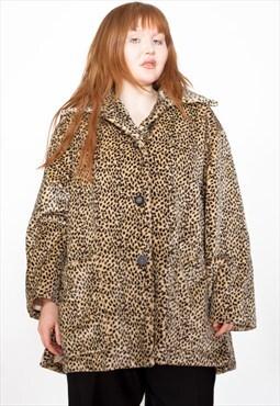Vintage 90s Leopard Print Faux Fur Jacket ID:5273