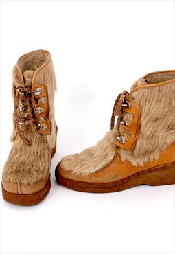 70's Eskimo Fur Warm Boots Unisex Hiking Snow Shoes
