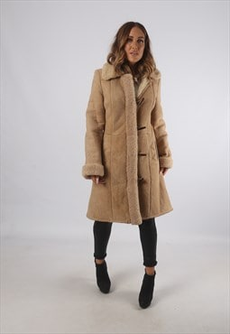Vintage Sheepskin Suede Shearling Coat Mid Long UK 8 (93H)