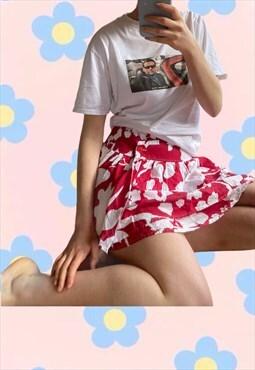Vintage Y2K Hawaiian Print Summer Cotton Skirt.