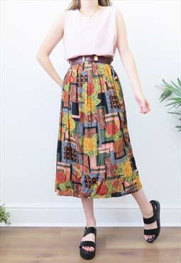 80s Vintage Autumnal Floral Pleated Midi Skirt