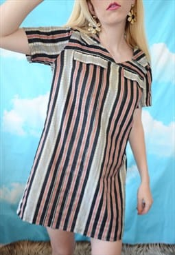 Vintage 70's Stripey Gingham Flower Pattern Mini Shift Dress