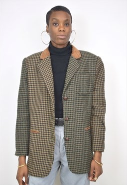 Vintage 90s Brown Green Houndstooth Blazer