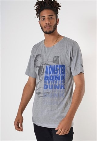 Vintage Shaq Monster Dunk 90's Graphic Print T-Shirt Grey