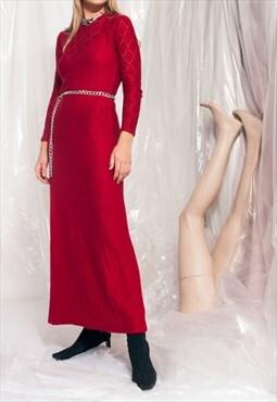 Vintage knit dress 70s long-sleeve red maxi dress