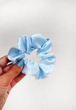 Powder Blue Satin Hair Band Scrunchie