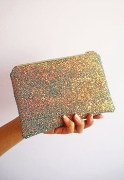 Grey & Rose Gold Glitter Makeup Bag