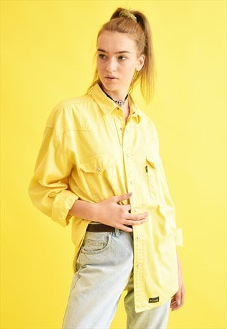 90'S RETRO DENIM PASTEL OVERSIZED DADS SHIRT TOP