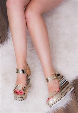 PECKER UP Platform Wedge Heel Sandals - Gold Leather Style