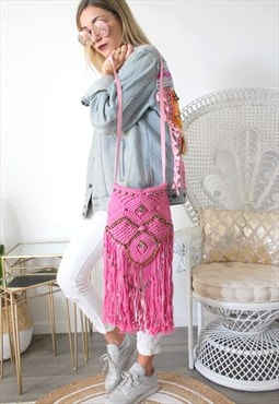 Bag pink fringes hippie
