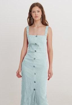 Linen midi summer casual streetwear dress