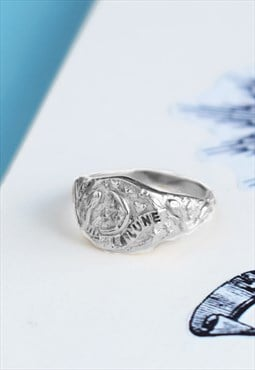 Silver Signet Ring with Celestial Moon and Stars Handmade
