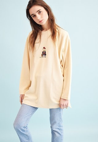 90'S RETRO PASTEL EMBROIDERY KNIT OVERSIZED JUMPER TOP