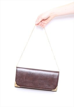 Vintage 80s Brown Faux Leather Gold Chain Bag
