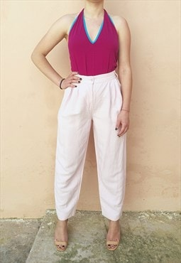Vintage 90s Benetton Linen Tapered Light Pink Trousers