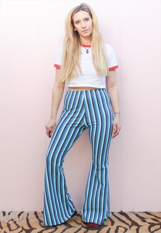 BLUE CRUSH STRIPE FLARES BELL BOTTOMS