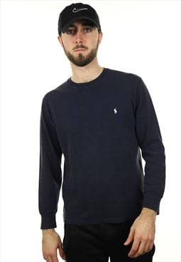 Vintage RALPH LAUREN Long Sleeve Textured T Shirt Navy