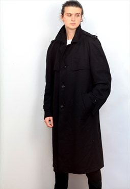 1980's vintage black wool 3/4 long length trench coat