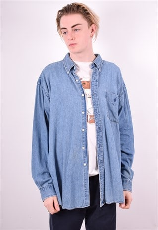 RALPH LAUREN MENS VINTAGE DENIM SHIRT XL BLUE 90'S