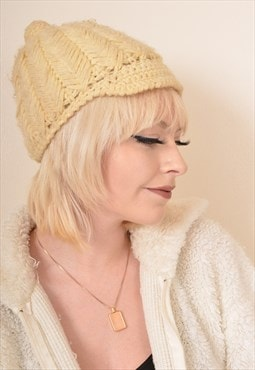 Vintage Knitted Beanie Hat with Cap in Cream