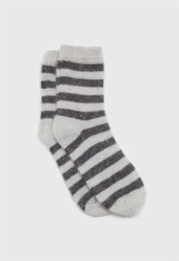 Ivory and grey striped angora socks