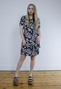 Vintage 90's Black & White Floral Grunge Summer Dress
