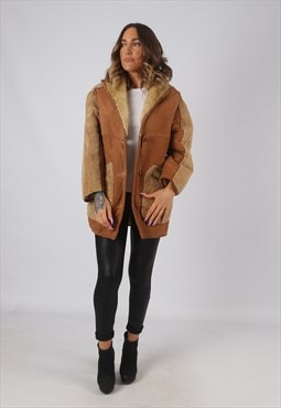 Suede Leather Sheepskin Shearling Coat Short UK 10  (KDN)