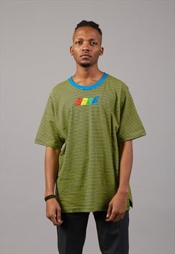 Oversized Stripped T-shirt With Colorful Embroidery