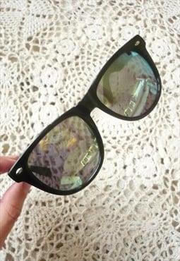 New Reflective Lens Mirror Wayfarer Style Grunge Sunglasses