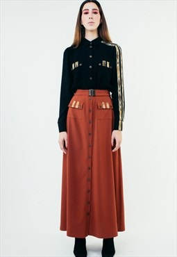 A-Line Wool Button Up Maxi Skirt With Pockets Red