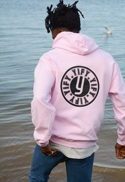 Stamp graphic print hoodie in pink.