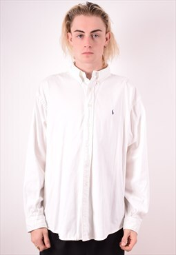 Polo Ralph Lauren Mens Vintage Shirt Large White 90s