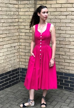 80s Vintage Hot Pink Button Corset Sun Dress