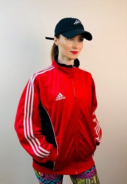 Vintage 80s adidas red football france black white track