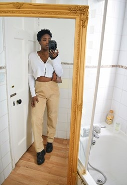 Vintage High waisted leather trousers in brown