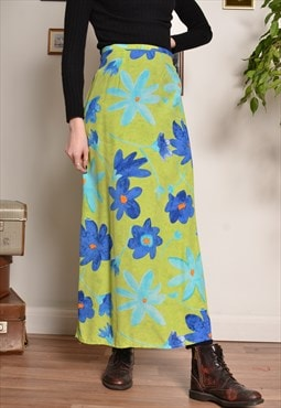 Vintage Floral Hippy Maxi Skirt in Green