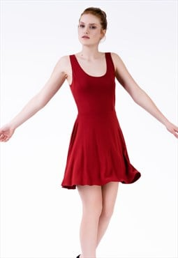 skater mini party dress in red with scoop neck