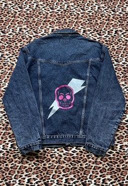 Hand Painted Skull Lightning Bolt Reworked Denim Jacket