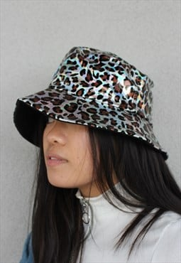Animal Print PVC Y2K_90s Festival Silver Bucket Hat