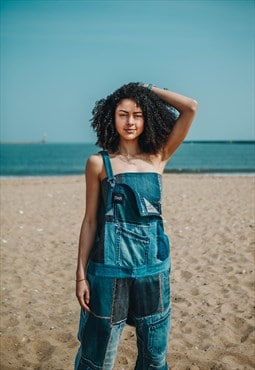 Oversized Dungarees In Patchwork Recycled Denim